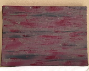 20 - Maroon and grey, abstract acrylic painting, 5x7