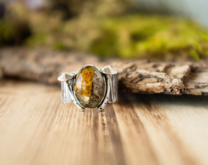 Old Growth Ring | Real Lichen in Resin and Sterling Silver | Size 7