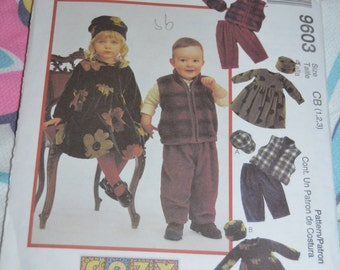 McCalls 9603 Toddlers Dress Vest Pull On Pants and Hats Sewing Pattern - UNCUT - Size 1 2 3