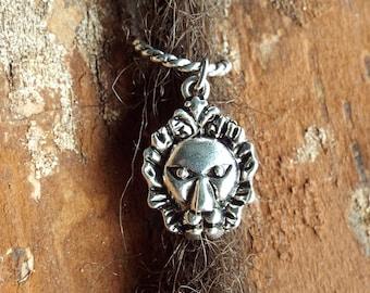 Lion Dread Charm Silver Tone Dreadlock Accessory Extension Accessories Dread Boho Bohemian Hippie Bead Dangle