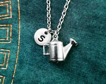 Watering Can Necklace SMALL Gardening Jewelry Gardener Gift Garden Jewelry Spring Jewelry Summer Gift Personalized Necklace Initial Necklace