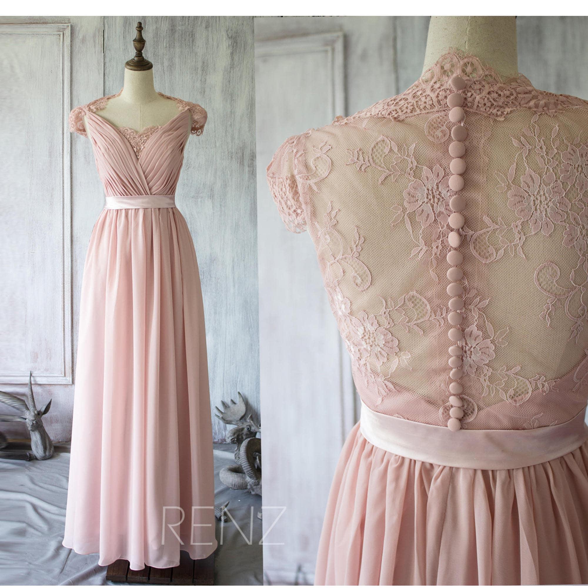 Blush chiffon lace bridesmaid dress cap sleeve wedding dress zoom ombrellifo Choice Image