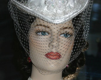 Kentucky Derby Hat Victorian Hat Wedding Petite Hat Women's White Hat One of a Kind Hat - Mademoiselle Dupree