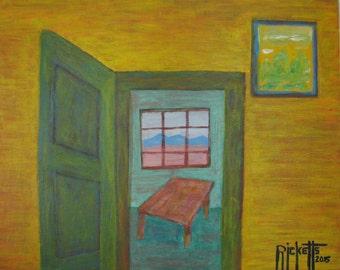 KITCHEN DOOR Original Acrylic Painting Unframed 20x16 No. 547 E