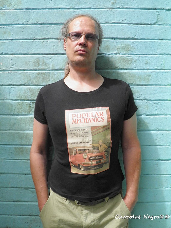 Popular Mechanics - Unisex Vintage Inspired Designer T-Shirt  With A Car Print - Short Sleeved