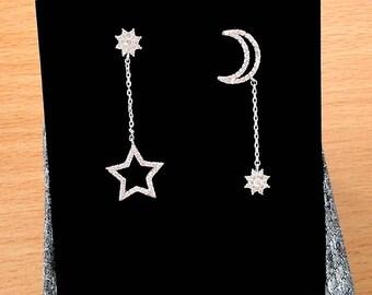 Crescent Moon Earrings Star Earrings Birthday Gift Long Chain Earrings Tiny Minimalist Earrings Dangle Geometric Wedding Bridal Earrings