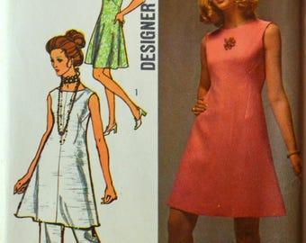 Uncut 1970s Simplicity Vintage Sewing Pattern 8775, Size 16; Misses' Dress and Pants