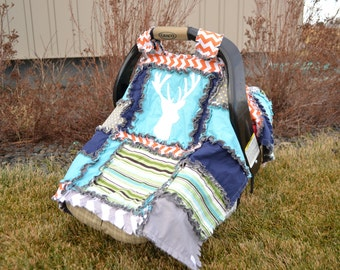 Deer Carseat Cover - Turquoise / Navy / Green / Gray Boy Deer Car Seat Cover - Carseat Canopy - Baby Carrier Cover Car Seat Accessories