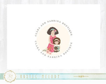 Mother and daughter logo, sisters logo, fashion logo, kids logo, childcare logo, boutique logo, photography logo, stamp logo