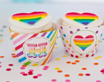 Rainbow Party Cupcake Wrappers - Printable