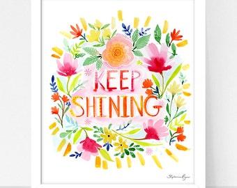 Art Print Hydrangea and Keep Shining