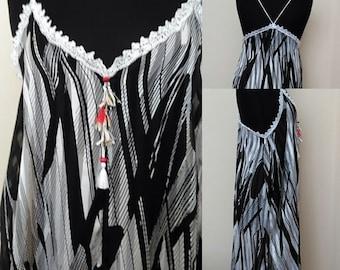 Oversize  Beach Dress,    Embellished Boho Casual Dress,     Boho Maxi Black&White Dress,  gift for her  Size 12-14