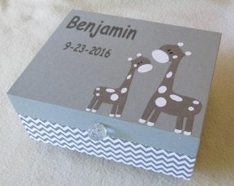 Medium Memory Box - Keepsake Box -  Giraffe - Giraffe Keepsake Box -  Personalized - Gift