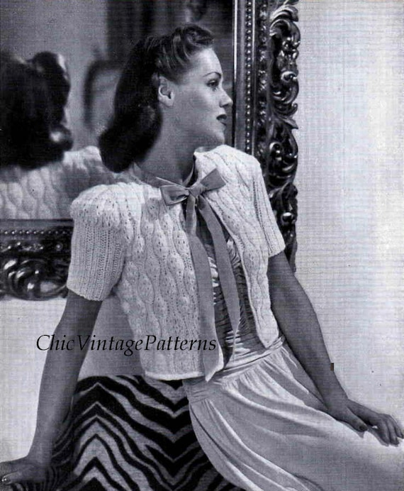 Ladies Bed Jacket 1940s Knitted Bed Jacket Pdf Knitting