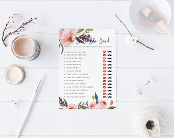 Pink Floral He Said She Said Bridal Shower Bride Or Groom Game Guess who Said it Game Guessing Game Printable Game Watercolor Blush 102