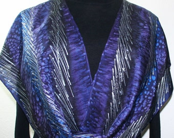 Silk Scarf Hand Painted. Purple, Blue, Black Hand Dyed Silk Scarf PURPLE THUNDER, in Several SIZES. Handmade Birthday Gift, Christmas Gift