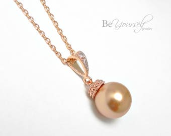 Rose Gold Bridal Necklace Copper Pearl Bride Necklace Wedding Jewelry Swarovski Rose Gold Pearls Bronze Necklace Bridesmaid Gift Jewelry