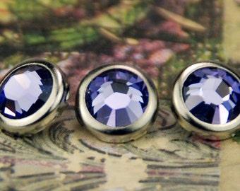 10 tanzanite cristal cheveux boutons pressions - ronde argent jante édition--faite avec des strass Swarovski Element