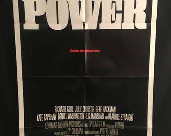Original 1985 Power One Sheet Movie Poster Richard Gere, Denzel Washington, Gene Hackman