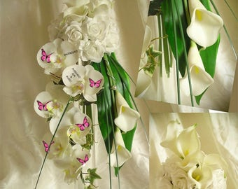 bridal bouquet fall lilies, orchids and artificial roses