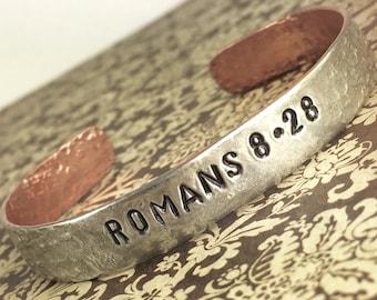 Romans 8:28 Silver and Copper Soldered Bracelet, Scripture Reference Bracelet, Handstamped Inspiring Bracelet by Kyleemae Designs