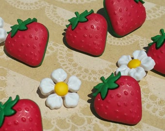 "Strawberry Buttons - Red Berry and White Flowers Sewing Button - 1/2"" to 3/4"" Wide - 11 Buttons"