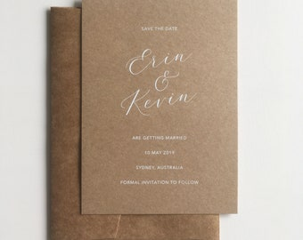 Rustic Save the Dates | Kraft Paper Save the Date with White Ink Printing | Wedding Save the Date Cards | Printed Cards with Kraft Envelopes