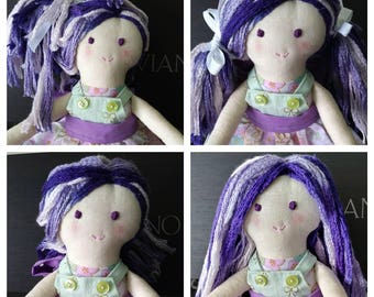 Handmade Fabric Doll in White and Green Floral print