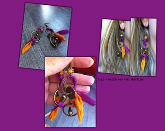 Earrings dangling bronzes, birds and silk sari Ribbon charms