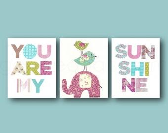 Kids wall Art Baby Girl Nursery Decor nursery Wall Art elephant nursery - Set of 3 Prints - You Are My Sunshine nursery art