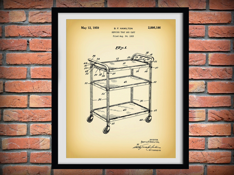 1959 Cosco Tray Cart Patent Print - Retro Kitchen Decor - Poster ...
