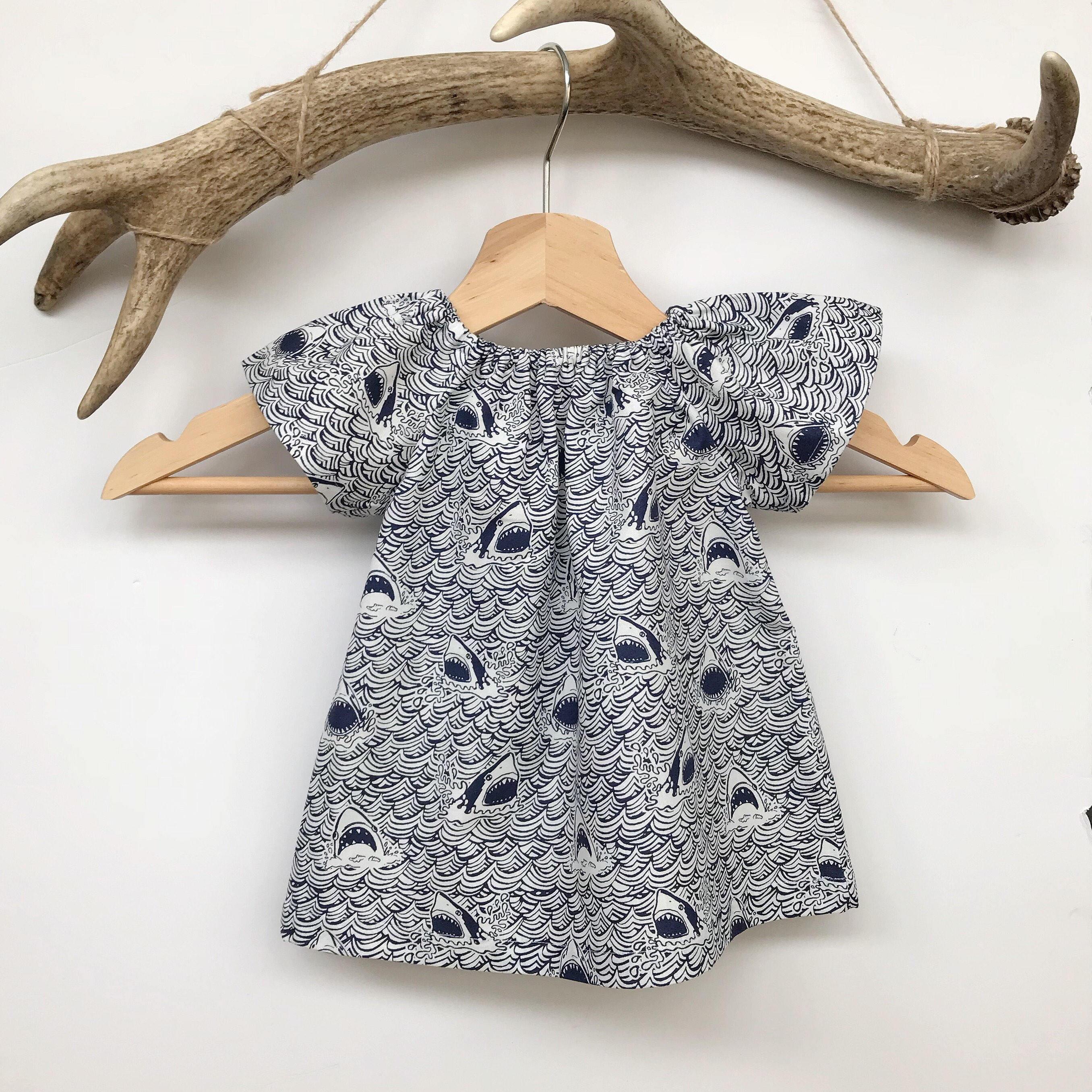 Baby girl summer dress shark print baby dress cotton baby