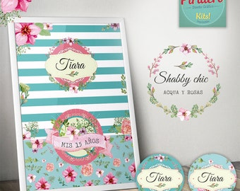 Printable Kit Acqua Shabby Chic / printable kits