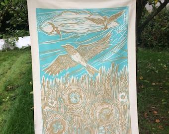 Tea Towel, unbleached cotton. Skylark design by Lou Tonkin