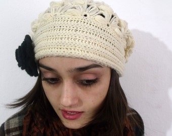 Cream crochet beanie ,  Chunky Off White Beanie, Handmade Crochet Hat, Cream Slouchy  , Cream Crochet Women's hat  crochet beanie Ivory Cap