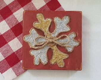 Snowflake, wooden block, cozy cabin, Christmas decor, silver and gold glitter