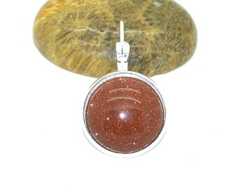 Cabochon stone fine goldstone 18mm flat back