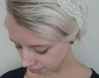 Ivory lace convertible chapel veil - Mantilla, chapel veil, lace snood, lace tichel