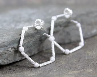 Hexagon Sterling Silver Earrings - Beaded Silver Earring - Hexagon Hoop - Post Style Pierced Earrings - Geometric -Modern Everyday Jewellery