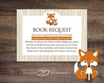 Instant Download Fox Book Request for Boy, Orange Fox Book in Lieu of Card, Orange Brown Fox Theme Baby Shower Book Instead of Card 65C