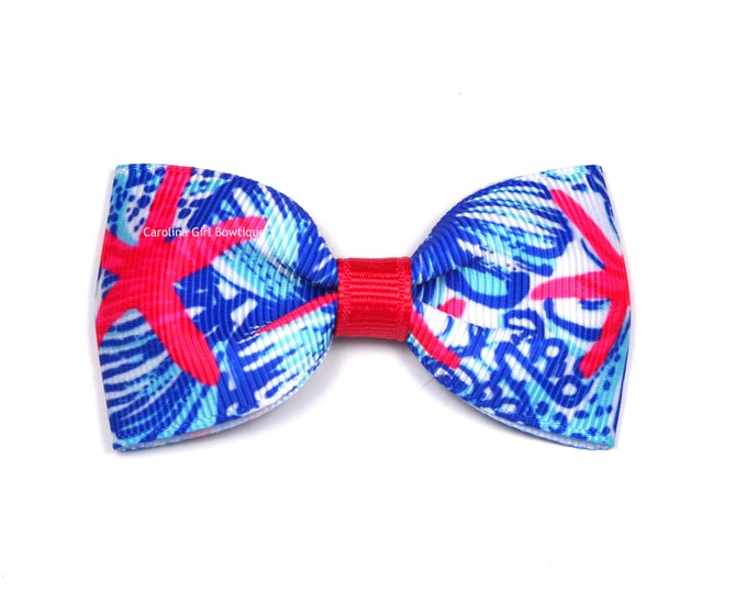 """She She Shells ~ 3"""" Hair Bow Tuxedo Bow ~ Lilly Inspired ~ Simple Bow ~ Boutique Bow for Babies Toddlers ~ Girls Hair Bows"""