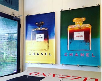 Original vintage french poster Andy Warhol for Chanel - 1997 - Yellow and Purple