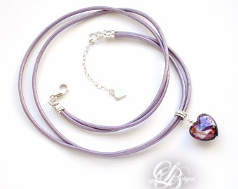 Lilac Leather & Purple-Amethyst Murano Glass Heart Necklace, Sterling Silver