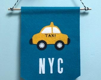 Handmade felt pennant NYC Taxi banner