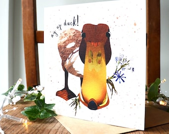 Ay Up Duck! Greetings Card, Northern Phrase, Quirky Bird Card, Illustrated in Collage