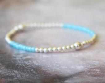 Sky Blue Bracelet, Beach Bracelet, 925 Sterling Silver Bracelet, Seed Bead Bracelet, Blue Bracelet, Boho Bracelet