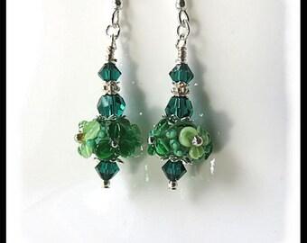 Green floral earrings, artisan lampwork earrings, 2441, green earrings, green jewelry, gifts for her, gifts for mom, Flower jewelry