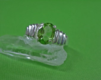 Peridot Rings x2 - Natural Peridot and Sterling Silver Rings - August Birthstone - Size 7 & Size 6 1/2 - 6 3/4