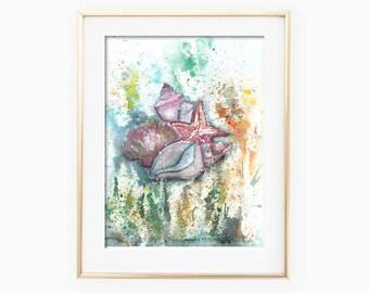 Seashells Painting, Seashells Art, Seashells Wall Art, Seashell Watercolor, Seashell Art Print, Home Decor, Printable Wall Art, Sea Life Art