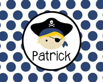 """Personalized Placemat - pirate boy laminated 12x18"""""""